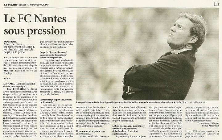 Le FC Nantes sous pression